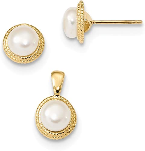 14K Yellow Gold 5-6mm White Button FWC Pearl Earring and Pendant Set