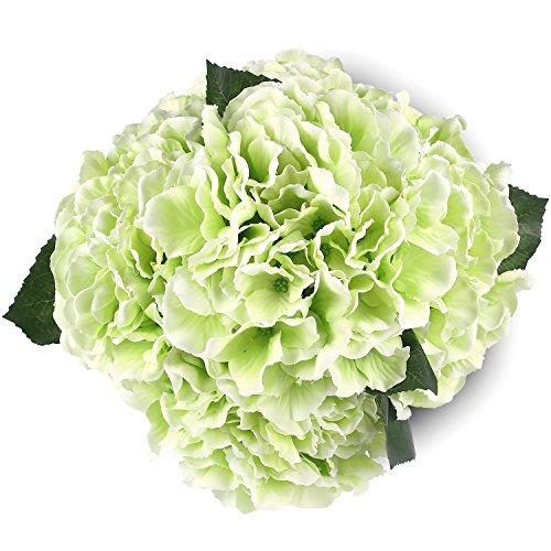 Green Artificial Hydrangea Silk Flowers 5 Heads SOLEDI Artificial Flower Arrangements Bunch Bridal Bouquet Wedding Bouquet for Home Garden Party Decoration Home Decor (Green Bridal Bouquets)