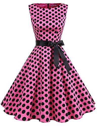 Dot Spring Dress (Gardenwed Women's Vintage 1950s Spring Garden Party Picnic Dress Sleeveless Retro Cocktail Dress Pink Black Dot XS)