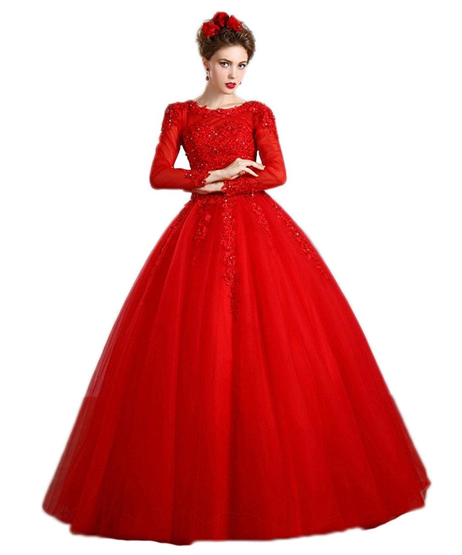 Vimans? Women's 2016 Long Scoop Beaded Lace Evening Wedding Dresses