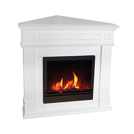 Divina Fire - Chimenea angular ecológica Londra de bioetanol, blanca