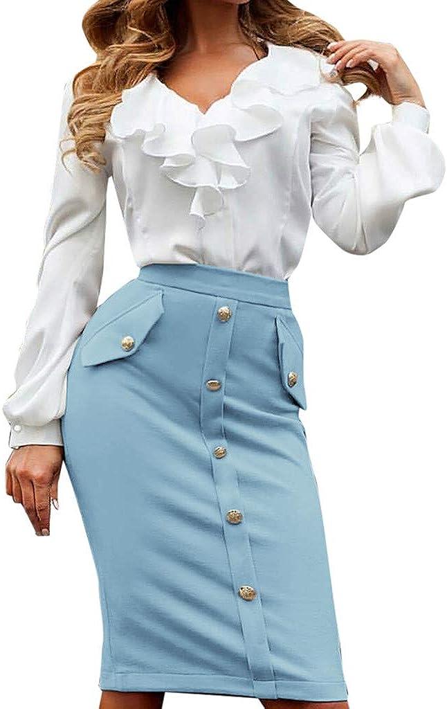 PASATO Women High Waisted Pencil Club Skirt Bodycon Button Pocket Pencil Mini Skater Skirt