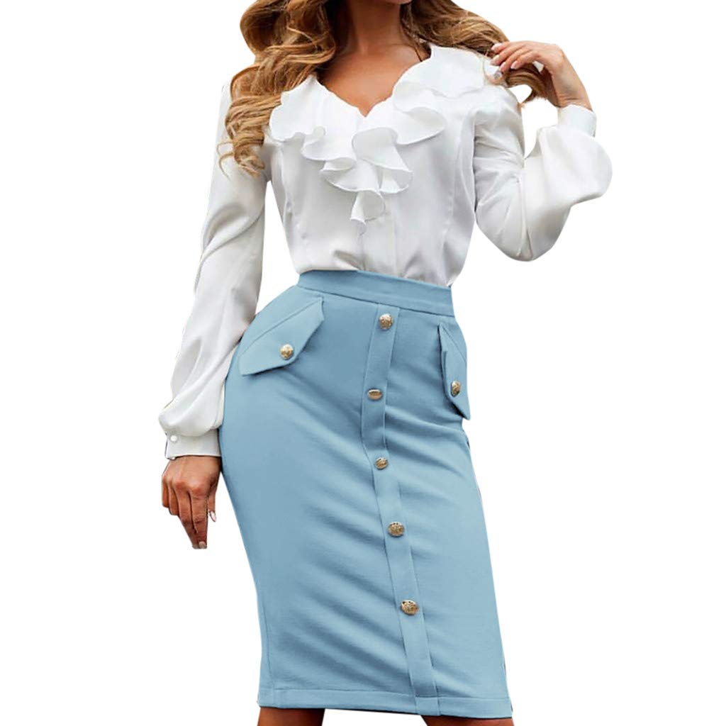 kingfansion Skirts with Pockets Women High Waisted Pencil Skirt Bodycon Button Skirts for Women Knee Length Blue