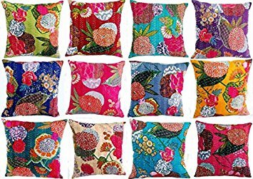 Set of 5 Decorative Colorful Cotton Square Decorative Throw