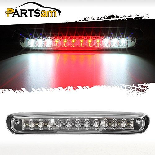 Partsam For 2007-2014 Chevy Silverado GMC Sierra 1500 2500 HD 3500 HD Red/White LED Clear Lens High Mount 3rd Third Brake Light Cargo Tail Lamp 3rd Brake Light Lamp