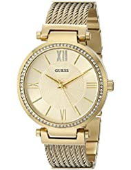 GUESS Womens Stainless Steel Crystal Accented Wire Bangle Bracelet Watch, Color: Gold-Tone (Model: U0638L2)