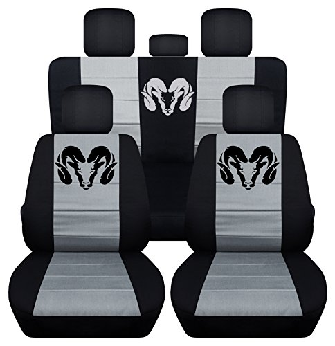Fits 2012 to 2017 Dodge Ram Front and Rear Ram Seat Covers 22 Color Options (40-60 Rear, Black Silver) by Designcovers