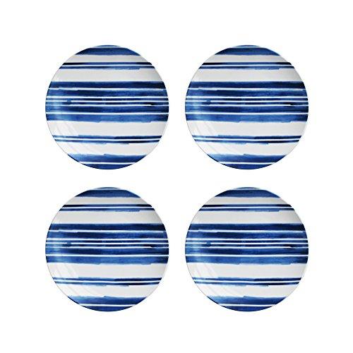 (American Atelier 1562336-4S Swoosh Stripe Salad Plate Set, 8 x 8, Blue)