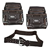 Prince Logo Bundle Triple Set- 2 Each 10 Pocket Oil Tanned Leather Nail and Tool Pouch with One Each 2'' Double Pin Work Belt- (3 Piece Set)