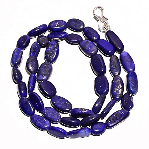 Kanta Incorporation Natural Lapis Lazuli Gemstone Oval Smooth Beads Necklace 17