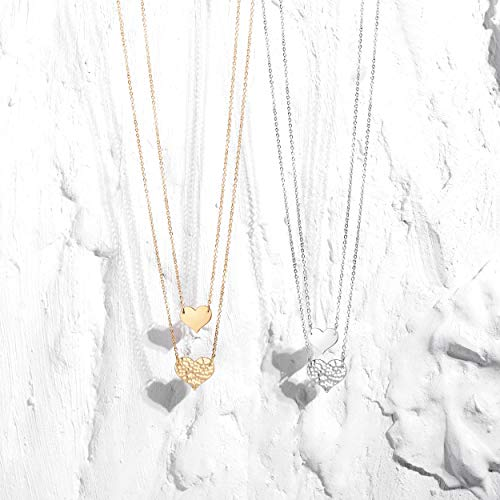 MEVECCO Layered Heart Necklace Pendant Handmade 18k Gold Plated Dainty Gold Choker Arrow Bar Layering Long Necklace for…