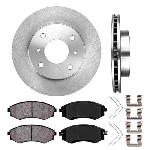FRONT 257 mm Premium OE 4 Lug [2] Brake Disc Rotors + [4] Ceramic Brake Pads + Hardware