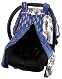 Dear Baby Gear Deluxe Car Seat Canopy, Custom Minky Print, Dream Catcher Feathers Aztec Faux Quilt Block
