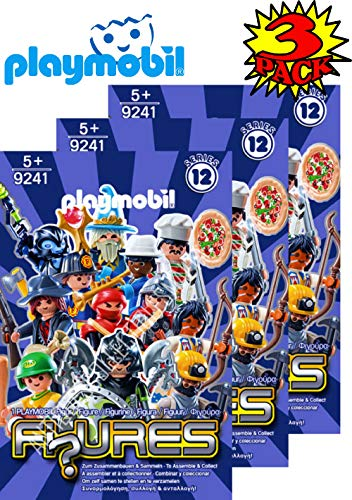 Matty's Toy Stop Playmobil Figures Mystery Blind Bags Series 12 Boys 9241 (Blue) Gift Set Party Bundle - 3 Pack - Favors Playmobil