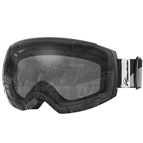 OutdoorMaster Ski Goggles PRO - Frameless, Interchangeable Lens 100% UV400 Protection Snow Goggles for Men & Women ( Black Frame VLT 99% Clear Lens and Free Protective Case ) (Clear Frame Lens Goggle Black)