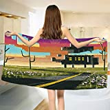 smallbeefly Fantasy Bath Towel Trippy Futuristic Landscape Collage in Paint Effect Apartment in Clouds Design Bathroom Towels Multicolor Size: W 31.5'' x L 64''