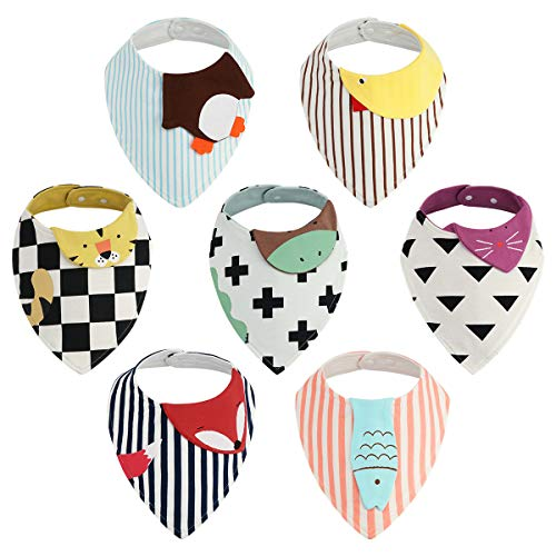 Baby Bandana Drool Bibs - 7 Pack Kirecoo Unisex Baby Bibs for Drooling and Teething, 100% Organic Cotton and Super Absorbent Cartoon Animal Bibs with Storage Bag for Baby Boys, Girls, Baby Shower Gift