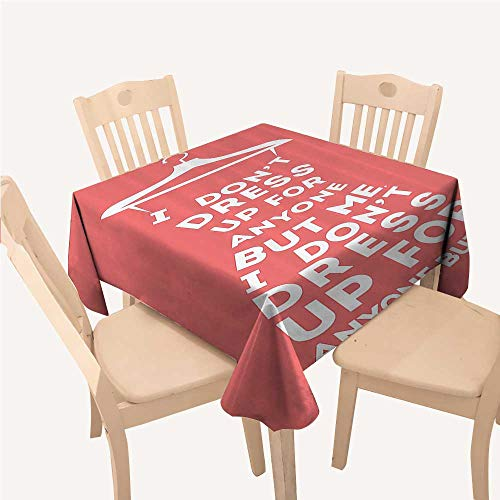 WilliamsDecor Quotes Decor Collection Small Tablecloth Fashion Woman Dress I Dont Dress Up for Anyone But Me Boutique Clothing ImageSalmon White Square Tablecloth W70 xL70 -