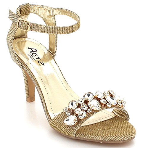 Tacón Sandalias Prom Brillante Tamaño Cristal Mujer Diamante Fiesta Noche Nupcial Oro Zapatos De Señoras Bodas Alto 7qnBw1v