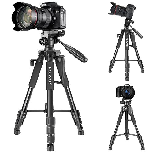 Neewer Travel Aluminum Camera Tripod 56 inches with 3-Way Swivel Pan Head and Smartphone Holder, Compatible with Canon Nikon DSLR Camera, DV Video Camcorder, iPhone and Android Smartphone (Black) by Neewer (Image #2)