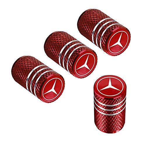 QINGTECH Valve Stem Caps,Tire Caps for Car,Motorbike,Trucks,Bike and Bicycle Aluminum 4pcs (red)