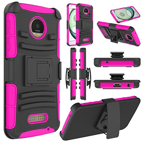 Moto Z Play Case, Moto Z Play Holster Case, Elegant Choise Heavy Duty Dual Layer Full Body Protective Kickstand Case Cover with Belt Clip Holster Case for Moto Z Play Droid (Rose)
