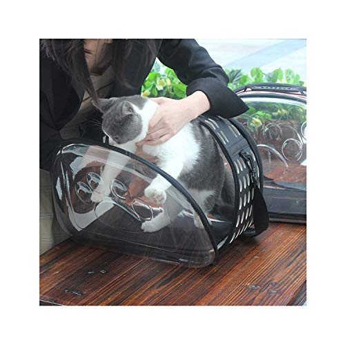 - dunical Portable Travel Pet Bag Outdoor Puppy Dog Cat Carrier Bags Shoulder Package Handbag Foldable Eva Material Soft Pets Dog Bag,Black,42X28X32Cm
