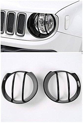 FMtoppeak 7 Colors Front Left/Right Headlight Head Lamp Hood Guard Decoration Cover Trim ABS For Jeep Renegade 2014 UP ()