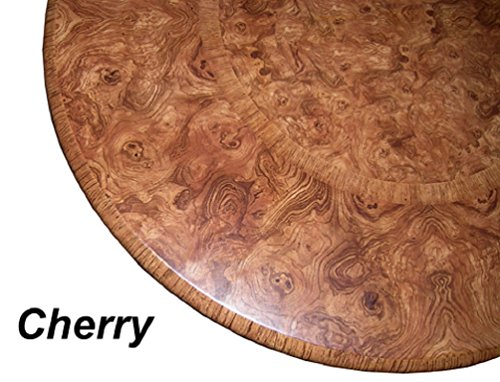 "Table Cloth Round 36"" to 48"" Elastic Edge Fitted Vinyl Table Cover Cherry Wood Pattern Brown Tan"