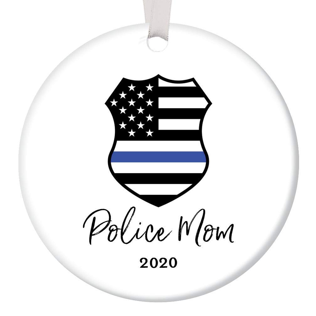 Police Mom Christmas Ornament 2020 Tree Decoration Porcelain Keepsake Present Female Officer Mother Mommy Mama from Children Son Daughter 3 Flat Ceramic Collectible with White Ribbon /& Free Gift Box