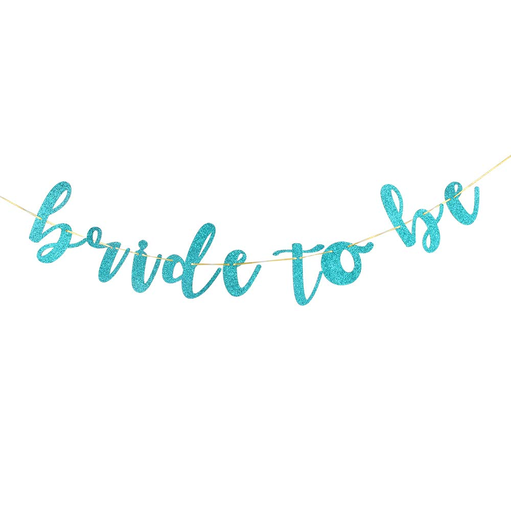 Bride to Be Banner for Bridal Shower,Engaged,Married,Wedding Anniversary Blue Glitter Hen Night Party Decorations