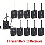 EXMAX EX-218 FCC Certified UHF Wireless Audio Visual Voice Acoustic Transmission Tour Exhibit Guide Guiding System 12 Channels Headset Microphone for Church Museum Trip(1 Transmitter 10 Receivers)