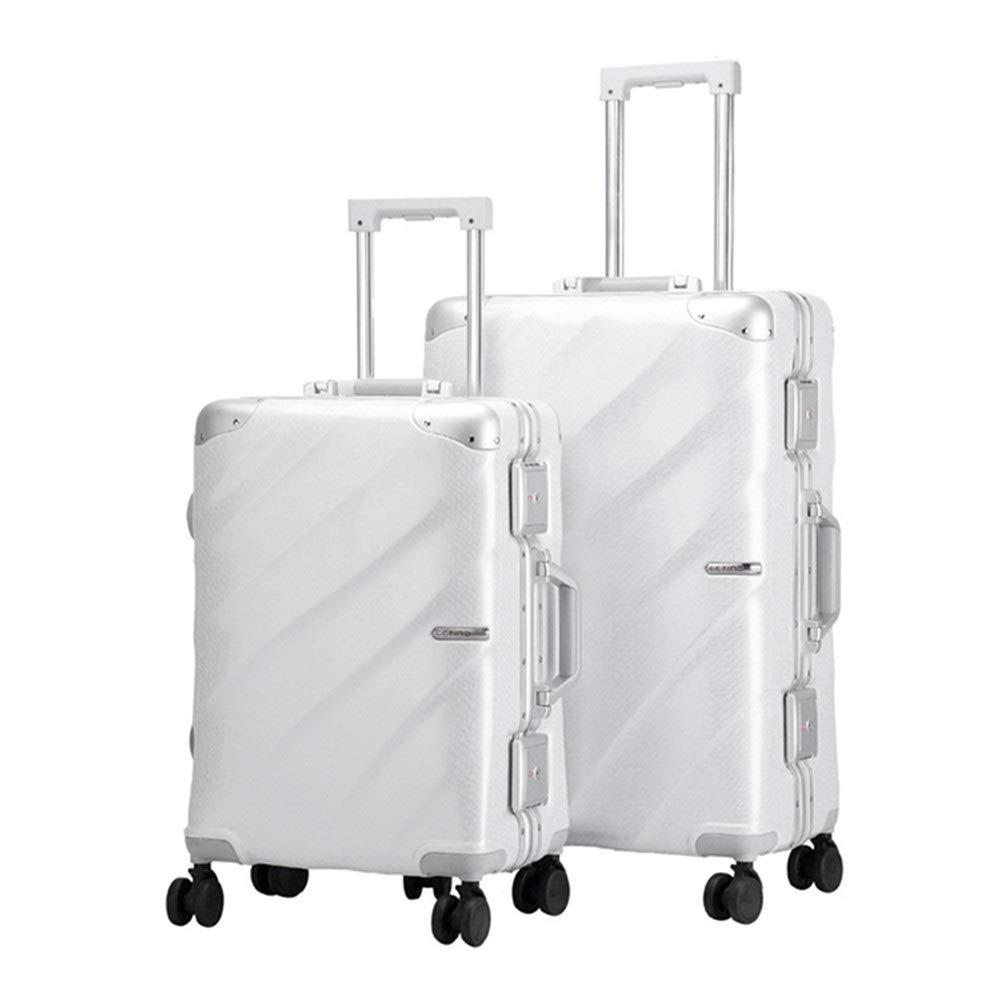 スーツケース ホイールアップライトキャリーオンラゲッジ荷物セット2ピーススピナースーツケース付きTSAロック20インチ24インチ (色 : 白, サイズ : 20in+24in) B07V8FLQFS 白 20in+24in
