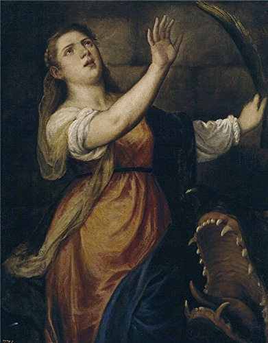 Perfect Effect Canvas ,the Replica Art DecorativePrints On Canvas Of Oil Painting 'Titian [Vecellio Di Gregorio Tiziano] (Workshop) Santa Margarita Ca. 1574 ', 8 X 10 Inch / 20 X 26 Cm Is Best For Foyer Artwork And Home Artwork And Gifts