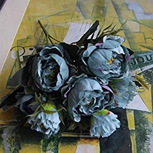 8 Head Mini Artificial Peony Silk Flowers Bouquet European Wedding Bride Party Bouquet Home Garden Decoration,1 16