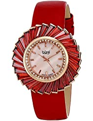 Burgi Womens BUR114RD Swiss Quartz Crystal Accented Mother-of-Pearl Rose Gold Red Leather Strap Watch