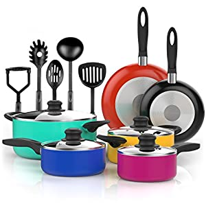 Vremi 15 Piece Nonstick Cookware Set – Durable Aluminum Pots and Pans with Cooking Utensils – Colorful Oven Safe and Multi Quart Enameled Saucepans Dutch Ovens and Fry Pans with Glass Lid