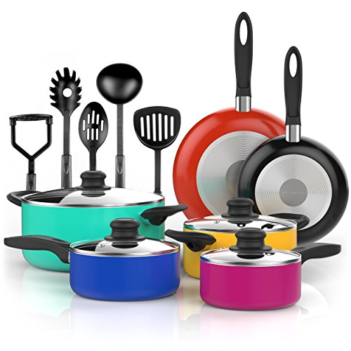 Vremi 15 Piece Nonstick Color Pop Cookware Set, 4 Pots with 4 Lids, 2 Pans and 5 Kitchen Utensils, Cool Touch