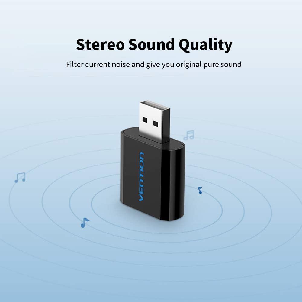 Docooler VENTION PS4 Tarjeta de Sonido Externa USB con Adaptador de micr/ófono para Auriculares est/éreo de 3,5 mm sin Controlador para PC Laptop Negro//Plata