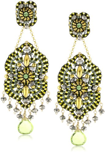 Miguel Ases Peridot Quartz and 14k Gold Filled Marquee Earrings