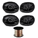 (2X) Kicker DSC6934 6''x9'' 3-way Speakers with 50 Feet 18 Gauge Speaker Wire