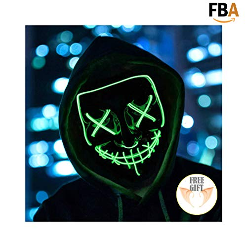 (Halloween Mask Light up Mask Cosplay LED Mask Frightening Purge Mask for Festival Cosplay Halloween Parties Costume)