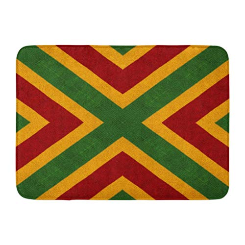 Beauregar Doormats Bath Rugs Outdoor Mat Reggae Colors Flag Crochet Knitted View Collage Mirror Reflection Kaleidoscope Montage Plaid 23.6