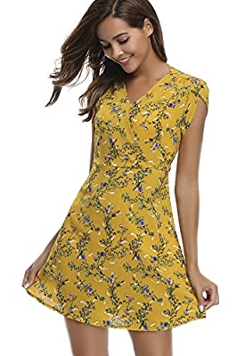 MISS MOLY Clearance Dress for Women Bohemian V Neck Floral Summer Casual Short Sleeve A Line Cute
