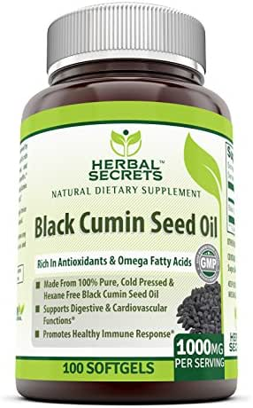 Herbal Secrets Black Cumin Seed Oil - 1000 Mg Per Serving,100 Softgels (Non-GMO) - New Improved Formula - Supports Cardiovascular & Digestive Function, Provides Healthy Immune Response*