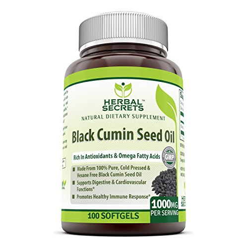 (Herbal Secrets Black Cumin Seed Oil - 1000 Mg Per Serving,100 Softgels (Non-GMO) - New Improved Formula - Supports Cardiovascular & Digestive Function, Provides Healthy Immune Response*)