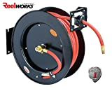 "ReelWorks L815153HA Steel Retractable Air Compressor/Water Hose Reel with 3/8"" x 50' Hybrid"