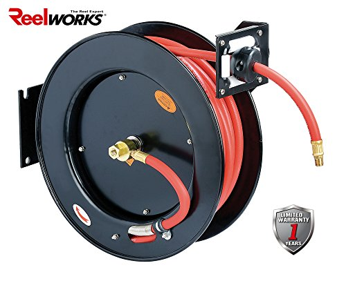 "ReelWorks L815153A Steel Retractable Air Compressor/Water Hose Reel with 3/8"" x 50' Rubber Hose, Max. 300 psi"