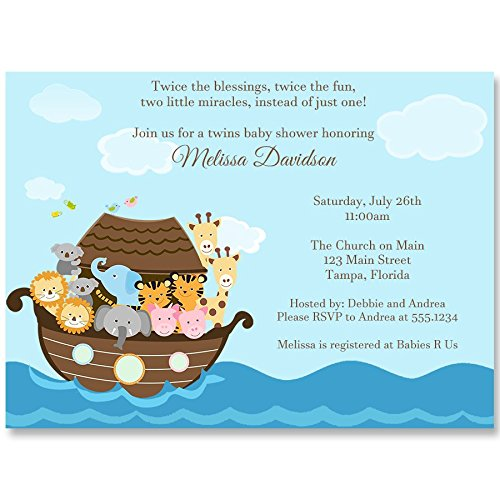 (Baby Shower Invitations, Noah's Ark, Twins, Blue, White, Brown, Twice The Blessings, Twice The Fun, Two Miracles, Miracle On The Way, Religious Baby, Pack of 10 Custom Printed Invites and Envelopes )