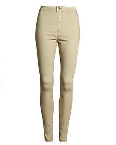 SaiDeng Mujeres Pantalones de Mezclilla Skinny Talle Alto Lápiz Ocio Jeans Caqui 2XL